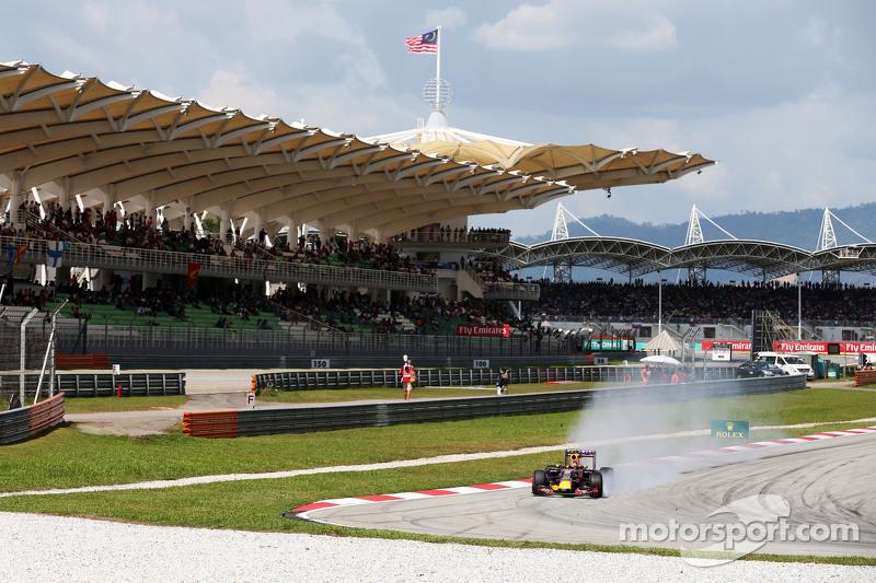 Daniil Kvyat, Red Bull Racing RB11 se bloquea en la frenada