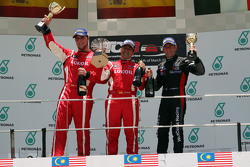 Podium Race 2 1st position Jordi Gene, SEAT Leon Racer, Craft Bamboo Racing LUKOIL 2nd position Pe