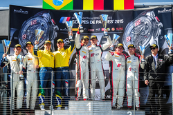 Podium: race winners Stéphane Richelmi, Stéphane Ortelli, Belgian Audi Club Team WRT, second place Maxime Martin, Dirk Müller, BMW Sports Trophy Team Brasil, third place Enzo Ide, Christopher Mies, Belgian Audi Club Team WRT