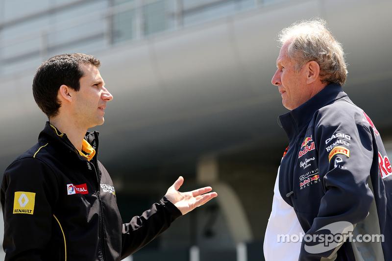 Remi Taffin, Renault Sport F1, Leiter Rennbetrieb, und Dr. Helmut Marko, Berater von Red Bull Motors