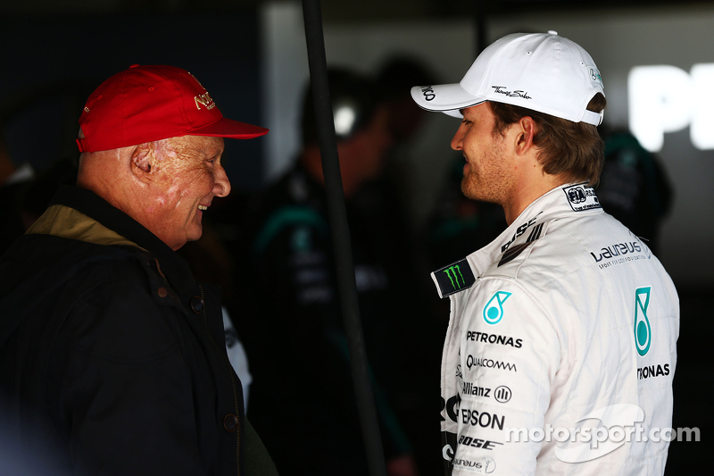 Niki Lauda, Mercedes Non-Executive Chairman with Nico Rosberg, Mercedes AMG F1