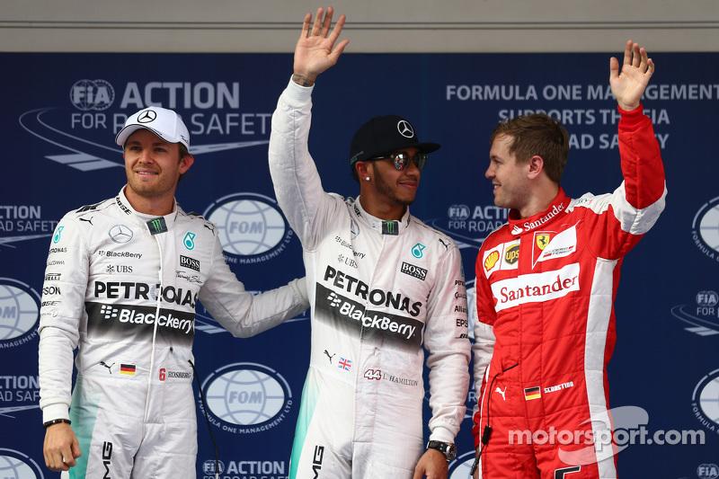 Nico Rosberg, Mercedes F1; Lewis Hamilton, Mercedes F1, und Sebastian Vettel, Ferrari