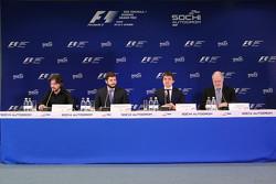 Алексей Попов, Сергей Воробьев, Дмитрий Саморуков и Ричард Креган на пресс-конференции