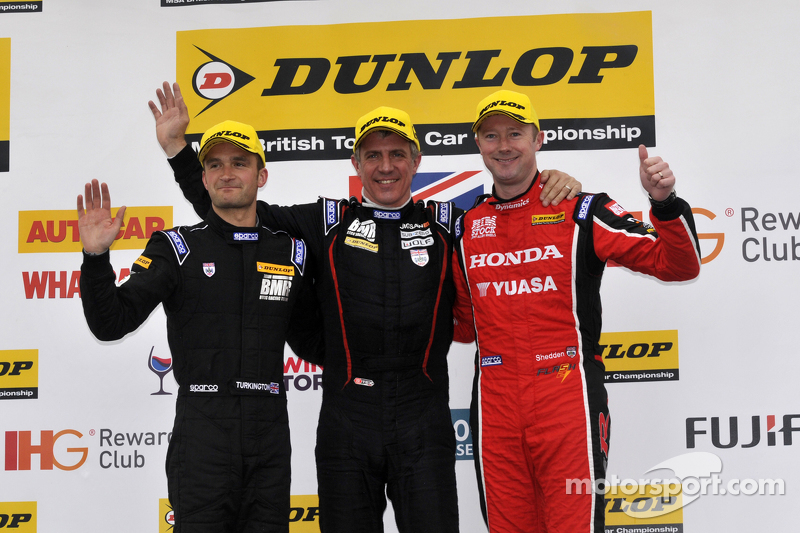 Podium: race winner Jason Plato, second place Gordon Shedden, third place Colin Turkington