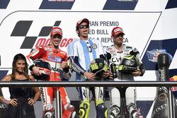 Podium: Andrea Dovizioso, Ducati Team, Valentino Rossi, Yamaha Factory Racing, Cal Crutchlow, Team LCR Honda