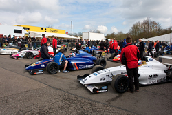 MSA Formula cars wait in on the Dummp Grid