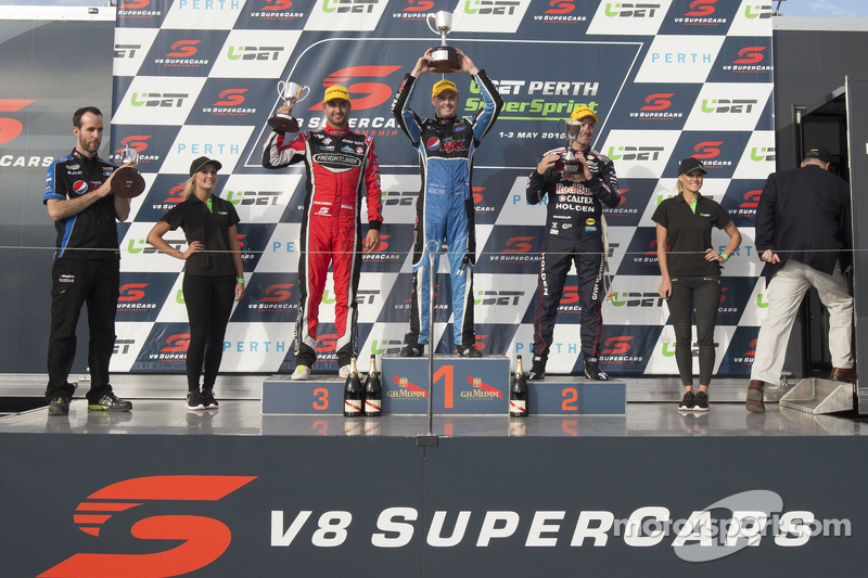 Podium: second place Fabian Coulthard, winner Mark Winterbottom, third place Jamie Whincup