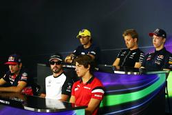 The FIA Press Conference, Felipe Nasr, Sauber F1 Team; Nico Rosberg, Mercedes AMG F1; Daniil Kvyat, Red Bull Racing; Carlos Sainz Jr, Scuderia Toro Rosso; Fernando Alonso, McLaren; Roberto Merhi, Manor Marussia F1 Team