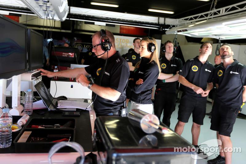Марк Слейд, Lotus F1 Team, гоночний інженер  та Кармен Хорда, Lotus F1 Team гонщик розвитку