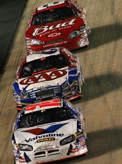 Scott Riggs leads Mark Martin and Dale Earnhardt Jr.