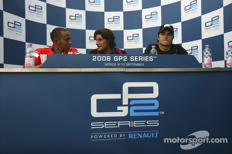 Press conference: race winner Giorgio Pantano with Nelson A. Piquet and Lewis Hamilton