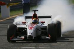 GP2 Series champion Lewis Hamilton celebrates