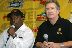Anthony Martin, founder of the Urban Youth Racing School, and Pat Gilbert, VP of Sponsorship & Events for UPS, talk to the media about the opening of the Urban Youth Racing School in Washington, D.C.