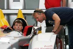 JJ Lehto in the Audi Sport North America paddock area