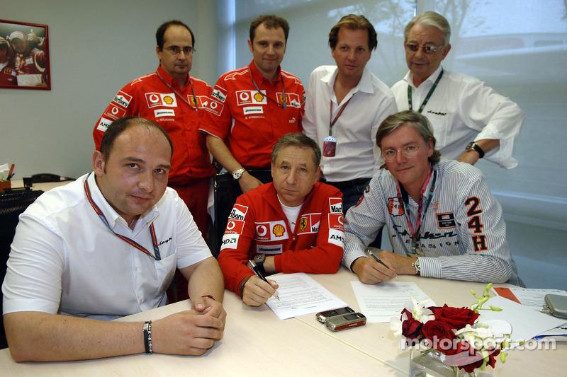 Firma de acuerdo para una colaboración técnica entre Ferrari y Spyker MF1 Racing