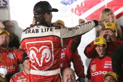 Victory lane: race winner Kasey Kahne celebrates