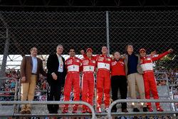 Piero Ferrari, Marc Gene, Luca Badoer, Michael Schumacher, Jean Todt, Luca di Montezemolo and Felipe Massa