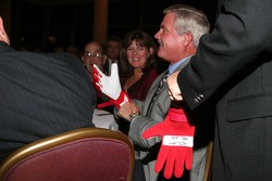 Terry Labonte signs the driving gloves