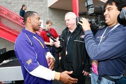 Former NFL player Tony Dorsett speaks to the media