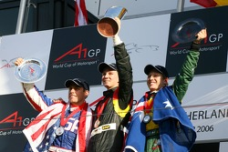 Top 3 finishers of race 2: Nico Hulkenberg, Phil Giebler and Ryan Briscoe