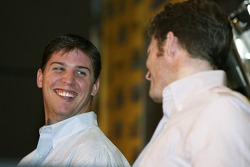 NASCAR Nextel Cup Chase contenders press conference, Doral Golf Resort & Spa, Miami: Denny Hamlin shares a laugh with Dale Earnhardt Jr.