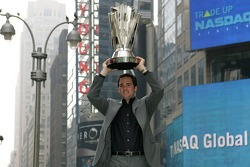 Jimmie Johnson celebrates his championship in Times Square