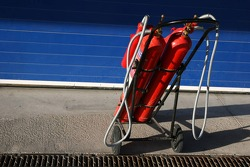 Extinguishers in the pitlane
