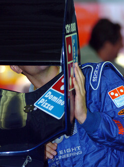 Jamie Whincup inspects his rear spoiler