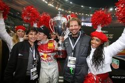Race of Champions winner Mattias Ekström celebrates with Michèle Mouton and Fredrik Johnsson