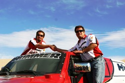 Team Gordon: Robby Gordon and Andy Grider pose with the Hummer H3