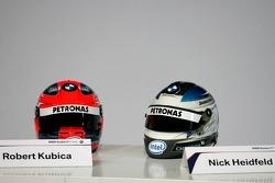 Helmets of Nick Heidfeld and Robert Kubica