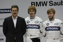 Доктор Марио Тейссен, директор BMW Motorsport, Себастьян Феттель, Ник Хайдфельд, Роберт Кубица, Тимо Глок и Вилли Рампф