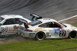 Crash and spin for #24 Matt Connolly Motorsports BMW M3: Mike Pickett, Bill Cotter, Ray Mason and #27 O'Connell Racing Porsche GT3 Cup: Kevin O'Connell, Mike Speakman, Jason Bowles, Kevin Roush, Lonnie Pechnik