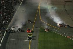 Last lap crash: Denny Hamlin hits the wall, Dale Earnhardt Jr., Elliott Sadler and Greg Biffle collide