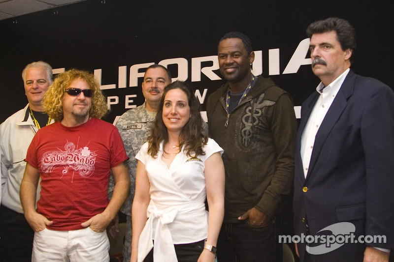 NASCAR President Mike Helton with Sammy Hagar, Brian McKnight and guests