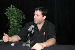 Tony Stewart answers questions from the media