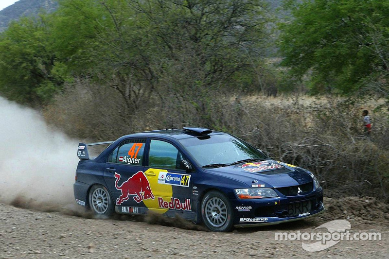 Andreas Aigner and Klaus Wicha, Red Bull Rallye Team, Mitsubishi Lancer Evo IX