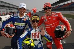 Marco Melandri, Valentino Rossi y Loris Capirossi