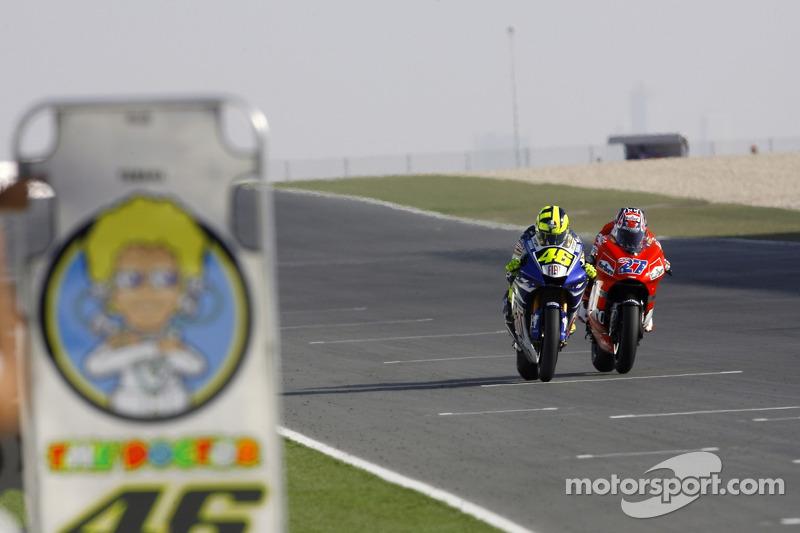 Bataille entre Valentino Rossi et Casey Stoner