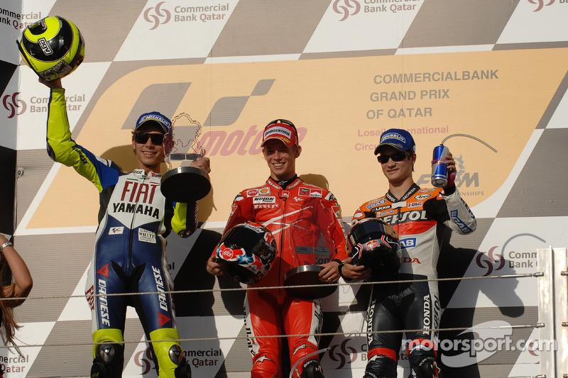 2007: 1. Casey Stoner, 2. Valentino Rossi, 3. Dani Pedrosa