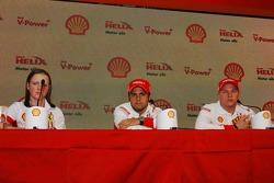 Lisa Lilley, Shell, Formula 1 Project Manager, Felipe Massa, Scuderia Ferrari and Kimi Raikkonen, Scuderia Ferrari - Shell Press Conference