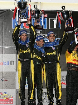 P2 podium: class winners Bryan Herta, Dario Franchitti and Tony Kanaan