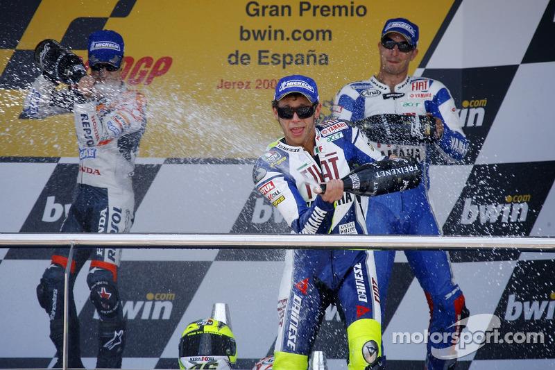 2007: 1. Valentino Rossi, 2. Dani Pedrosa, 3. Colin Edwards
