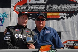 Victory lane: race winner Tracy Hines with A.J. Foyt