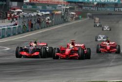 Lewis Hamilton, McLaren Mercedes, MP4-22 and Felipe Massa, Scuderia Ferrari, F2007