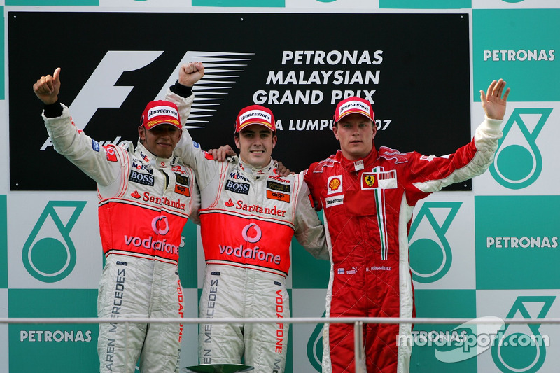 2007 1. Fernando Alonso, 2. Lewis Hamilton, 3. Kimi Raikkonen