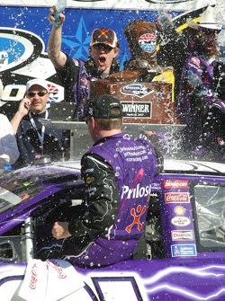 Victory lane: race winner Jeff Burton celebrates