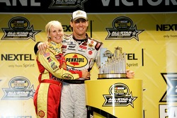 Victory lane: race winner Kevin Harvick celebrates with wife DeLana