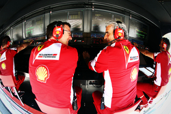 James Allison, Ferrari Chassis Technical Director and Maurizio Arrivabene, Ferrari Team Principal on the pit gantry