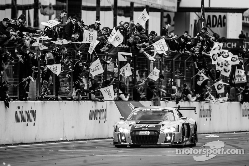 Race winner #28 Audi Sport Team WRT Audi R8 LMS: Christopher Mies, Edward Sandström, Nico Müller, Laurens Vanthoor celebrates